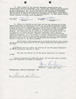 TOMMY LEE JONES - CONTRACT SIGNED 07/22/1988