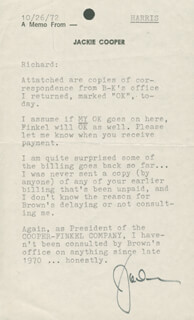 JACKIE COOPER - TYPED LETTER SIGNED 10/26/1972