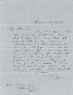 PRESIDENT FRANKLIN PIERCE - AUTOGRAPH LETTER SIGNED 02/18/1851