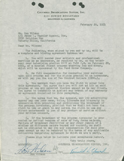 DON WILSON - DOCUMENT SIGNED 02/20/1951