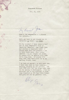 GEORGE D. CUKOR - TYPED LETTER SIGNED 01/21/1976