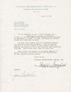 JIM NABORS - DOCUMENT SIGNED 08/27/1965