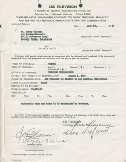 JERRY COLONNA - DOCUMENT SIGNED 07/27/1957