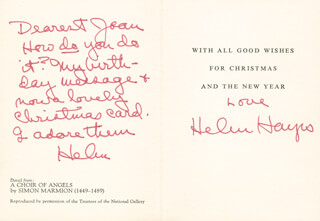 HELEN HAYES - CHRISTMAS / HOLIDAY CARD SIGNED