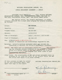 REX HARRISON - DOCUMENT SIGNED 02/27/1952