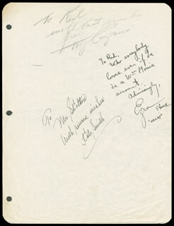 KATE SMITH - AUTOGRAPH NOTE SIGNED CO-SIGNED BY: TONY CANZONERI, EZRA STONE