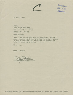 ROBERT STACK - DOCUMENT SIGNED 03/31/1987