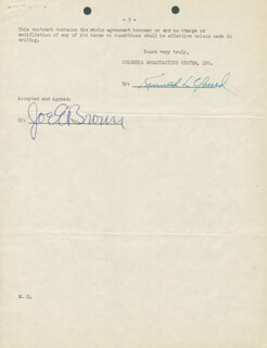 JOE E. BROWN - DOCUMENT SIGNED 03/10/1950