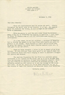 HELEN KELLER - TYPED LETTER SIGNED 11/09/1942