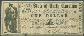 STATE OF NORTH CAROLINA - CURRENCY SIGNED 10/18/1861 CO-SIGNED BY: R. G. LINDSAY