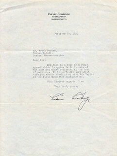 Autographs: PRESIDENT CALVIN COOLIDGE - TYPED LETTER SIGNED 10/27/1930