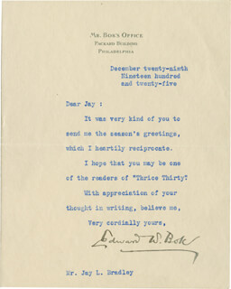 EDWARD W. BOK - TYPED LETTER SIGNED 12/29/1925