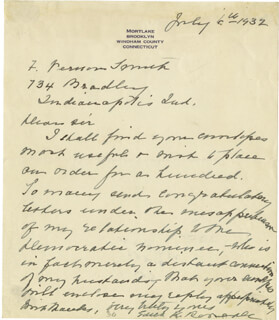 FIRST LADY EDITH K. ROOSEVELT - AUTOGRAPH LETTER SIGNED 07/06/1932
