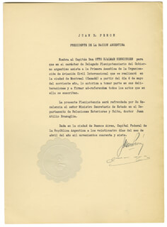 PRESIDENT JUAN D. PERON (ARGENTINA) - CIVIL APPOINTMENT SIGNED 04/24/1947 CO-SIGNED BY: JUAN ATILIO BRUMAGLIA