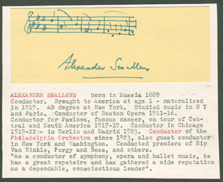 ALEXANDER SMALLENS - AUTOGRAPH MUSICAL QUOTATION SIGNED