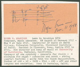 ROGER H. SESSIONS - AUTOGRAPH MUSICAL QUOTATION SIGNED 11/11/1948