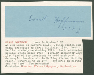 ERNST HOFFMANN - AUTOGRAPH MUSICAL QUOTATION SIGNED