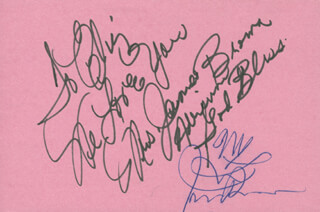 Autographs: JAMES GODFATHER OF SOUL BROWN - INSCRIBED SIGNATURE CIRCA 1986 CO-SIGNED BY: ADRIENNE BROWN