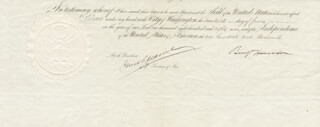 Autographs: PRESIDENT BENJAMIN HARRISON - PRINTED DOCUMENT FRAGMENT SIGNED IN INK 06/20/1889 CO-SIGNED BY: JAMES G. BLAINE