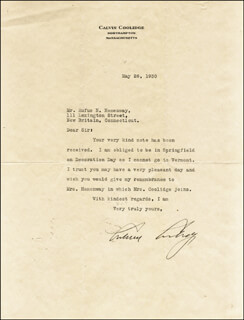 Autographs: PRESIDENT CALVIN COOLIDGE - TYPED LETTER SIGNED 05/26/1930