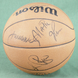 Autographs: LARRY BIRD - BASKETBALL SIGNED CO-SIGNED BY: JAMES A. WORTHY, EARVIN MAGIC JOHNSON