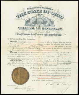 Autographs: PRESIDENT WILLIAM McKINLEY - PARDON SIGNED 07/23/1895 CO-SIGNED BY: SAMUEL M. TAYLOR, WALKER HENRY