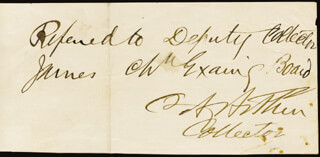 Autographs: PRESIDENT CHESTER A. ARTHUR - AUTOGRAPH ENDORSEMENT SIGNED