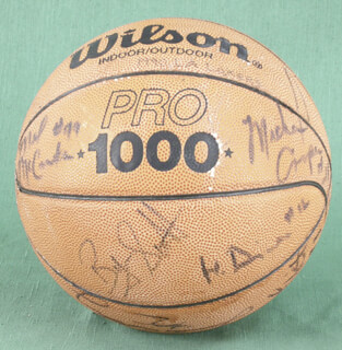 Autographs: THE LOS ANGELES LAKERS - BASKETBALL SIGNED CO-SIGNED BY: JAMES A. WORTHY, BYRON ANTOM SCOTT, MICHAEL JEROME COOPER, A. C. GREEN JR., MYCHAL GEORGE THOMPSON, VLADE DIVAC, LARRY DREW, MARK McNAMARA, ORLANDO V. WOOLRIDGE, JAY VINCENT, EARVIN MAGIC JOHNSON, MEL McCANTS