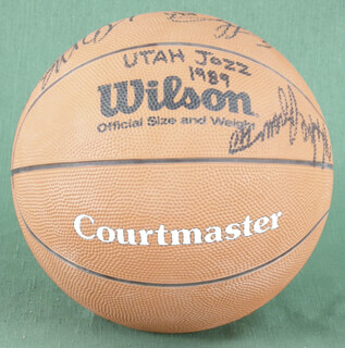 THE UTAH JAZZ - BASKETBALL SIGNED CIRCA 1989 CO-SIGNED BY: BOB HANSEN II, KARL MALONE, MIKE BROWN, ERICK LECKNER, MARC IAVARONI