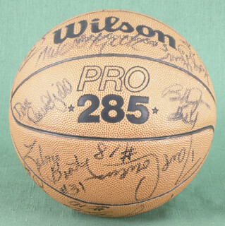 ARTIS GILMORE - BASKETBALL SIGNED CO-SIGNED BY: DAVE COWENS, GEORGE GERVIN, MAURICE LUCAS, BOB BUTTERBEAN LOVE, BOB LANIER, ED MANNING, DAN ROUNDFIELD, BOBBY JONES