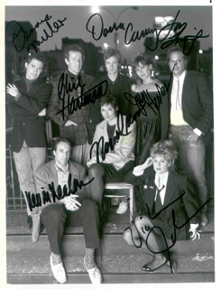 SATURDAY NIGHT LIVE TV CAST - AUTOGRAPHED SIGNED PHOTOGRAPH CO-SIGNED BY: DENNIS MILLER, DANA CARVEY, PHIL HARTMAN, MIKE MYERS, KEVIN NEALON, JON LOVITZ, VICTORIA JACKSON, JAN HOOKS, NORA DUNN