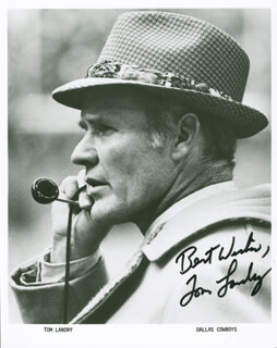 TOM LANDRY - AUTOGRAPHED SIGNED PHOTOGRAPH