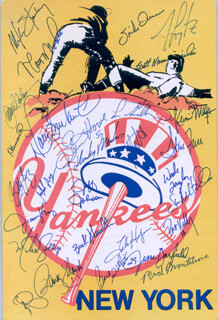 THE NEW YORK YANKEES - EPHEMERA SIGNED CO-SIGNED BY: MATT NOKES, CLIFF HEATHCLIFF JOHNSON, STEVE HOWE, RANDY VELARDE, MIKE STANLEY, BERNIE WILLIAMS, MIKE GALLEGO, RICH MONTELEONE, PAT KELLY, JIM LEYRITZ, BUCK SHOWALTER, JIMMY KEY, SCOTT KAMIENIECKI, XAVIER HERNANDEZ, MELIDO PEREZ, KEVIN MAAS, HENSLEY BAM BAM MEULENS, STEVE FARR, JESSE BARFIELD, WADE TAYLOR, CHARLIE HAYES, DION JAMES, SPIKE OWEN, STERLING HITCHCOCK, BOBBY MUNOZ