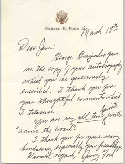 PRESIDENT GERALD R. FORD - AUTOGRAPH LETTER SIGNED CIRCA 1993