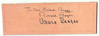 Autographs: PRESIDENT RONALD REAGAN - EPHEMERA SIGNED CO-SIGNED BY: FIRST LADY NANCY DAVIS REAGAN