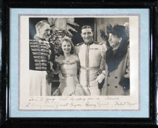 Autographs: ADORABLE MOVIE CAST - INSCRIBED PHOTOGRAPH SIGNED CIRCA 1933 CO-SIGNED BY: HENRI GARAT, HERBERT MUNDIN, JANET GAYNOR, C. AUBREY SMITH