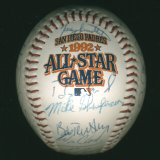 Autographs: BASEBALL ALL-STARS - BASEBALL SIGNED CIRCA 1992 CO-SIGNED BY: TONY GWYNN, GREG MADDUX, JOE TORRE, OZZIE THE WIZARD OF OZ SMITH, DARREN DAULTON, WILL THE NATURAL CLARK, DENNIS THE ECK ECKERSLEY, LEE SMITH, TERRY PENDLETON, BOBBY COX, DAVE CONE, LARRY WALKER, BIP (LEON JOSEPH III) ROBERTS, BENITO SANTIAGO, DOUG JONES, TOM GLAVINE, JOHN SMOLTZ, FRED McGRIFF, GARY SHEFFIELD, TONY FERNANDEZ, JACK MCDOWELL, NORM CHARLTON, MARK SHARPERSON, BOB TEWKSBURY, DENNIS MARTINEZ, TOM PAGNOZZI, RON GANT, CRAIG BIGGIO, JOHN KRUK