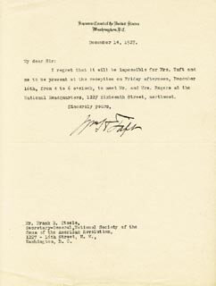 PRESIDENT WILLIAM H. TAFT - TYPED LETTER SIGNED 12/14/1927
