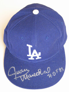 JUAN MARICHAL - HAT SIGNED CO-SIGNED BY: MAURY WILLS, DAVEY LOPES, STEVE GARVEY