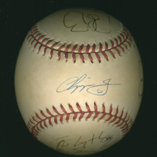 THE ATLANTA BRAVES - AUTOGRAPHED SIGNED BASEBALL CO-SIGNED BY: DON GROOVE BAYLOR, TOM GLAVINE, JOHN SMOLTZ, ANDRUW JONES, CHIPPER JONES, BRETT BOONE, LEO MAZZONI