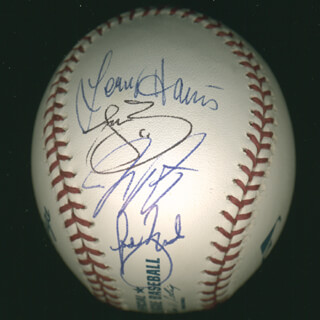 LENNY HARRIS - AUTOGRAPHED SIGNED BASEBALL CO-SIGNED BY: JAY PEYTON, JOE MCEWING