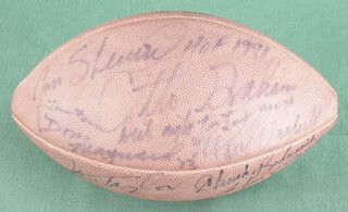 HALL OF FAME FOOTBALL - FOOTBALL SIGNED CO-SIGNED BY: JIM TAYLOR, TOM FEARS, CHUCK BEDNARIK, RICHARD NIGHT TRAIN LANE, JAN STENERUD, DON MAYNARD, OTTO GRAHAM, PAUL WARFIELD