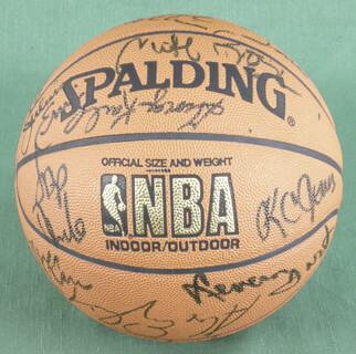 JULIUS DR. J. ERVING - BASKETBALL SIGNED CO-SIGNED BY: JERRY WEST, LIONEL HOLLINS, M. L. CARR, ALEX ENGLISH, GEORGE KARL, K.C. JONES, BOB McADOO, ALVAN ADAMS