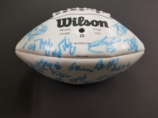 NEW YORK JETS - FOOTBALL SIGNED CO-SIGNED BY: ANTHONY CLEMENT, KERRY RHODES, JAMES DEARTH, ANDRE DYSON, BRANDON MOORE, MIKE NUGENT, PETE KENDALL, DAVE BALL, KEVAN BARLOW, ED BLANTON, TIM DWIGHT, NICK MANGOLD, SIONE POUHA, RYAN RIDDLE, DEWAYNE ROBERTSON, ERIC SMITH