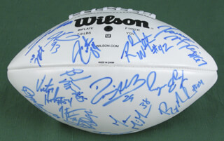 NEW YORK JETS - FOOTBALL SIGNED CO-SIGNED BY: CURTIS MARTIN, CHAD PENNINGTON, LAVERNUES COLES, ANTHONY CLEMENT, KERRY RHODES, JAMES DEARTH, JACOB BENDER, ANDRE DYSON, BRANDON MOORE, WAYNE CHREBET, JOHN ABRAHAM, JONATHAN VILMA, SANTANA MOSS, ERIK COLEMAN, BROOKS BOLLINGER, MIKE NUGENT, PETE KENDALL, SHAUN ELLIS, JASON FABINI, JONATHAN CARTER, ANTHONY BECHT, RAY MICKENS, JERALD SEWELL