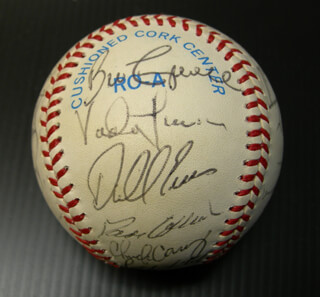 THE DETROIT TIGERS - AUTOGRAPHED SIGNED BASEBALL CIRCA 1986 CO-SIGNED BY: DAVE COLLINS, LOU SWEET LOU WHITAKER, CHET LEMON, HARRY SPILMAN, ALAN TRAMMELL, VADA PINSON, ALEX GRAMMAS, LANCE M. PARRISH, WILLIE HERNANDEZ, DARRELL EVANS, FRANK TANANA, BILL CAMPBELL, SPARKY ANDERSON, JACK MORRIS, KIRK GIBSON, CHUCK CARY, SCOTTI MADISON, DAVE ENGLE, RANDY O'NEAL, DARNELL COLES, LARRY HERNDON, DAN PETRY, DOUG BAKER, DWIGHT LOWRY, DAVE BERGMAN, CHARLES BOOTS DAY