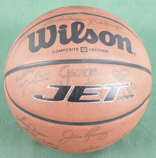 Autographs: SAM JONES - BASKETBALL SIGNED CO-SIGNED BY: SLATER DUGIE MARTIN, BOB PETTIT, DAVE COWENS, JACK RAMSAY, DANNY SCHAYES, BAILEY HOWELL, GEORGE YARDLEY, CLIFF HAGAN, HARRY GALLATIN