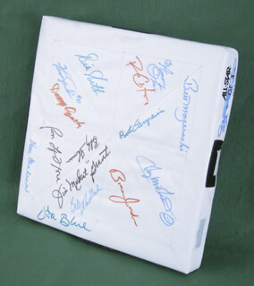 Autographs: BASEBALL ALL-STARS - EPHEMERA SIGNED CO-SIGNED BY: VIDA BLUE, RONALD LEFLORE, BILL MADLOCK JR., AMOS A.O. OTIS, BERT CAMPANERIS, DONN CLENDENON, JIM MUDCAT GRANT, WILLIAM BILLY NORTH, DANNY OZARK IKE OZARK, TUG (FRANK) MCGRAW, BOBBY THOMSON, FERGUSON JENKINS, BILL MAZ MAZEROSKI, BRIAN JORDAN, ROYCE CLAYTON