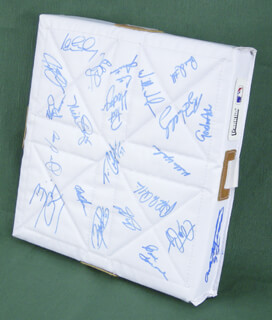 TORONTO BLUE JAYS - EPHEMERA SIGNED CO-SIGNED BY: CLARENCE CITO GASTON, GENE TENACE, BENITO SANTIAGO, CARLOS DELGADO, PAT HENTGEN, ALEX GONZALES, WILLIE WILSON, JUAN GUZMAN, PAUL QUANTRILL, ALFREDO GRIFFIN, WILLIE UPSHAW, ROY HALLIDAY, GORDON ASH, TIM CRABTREE