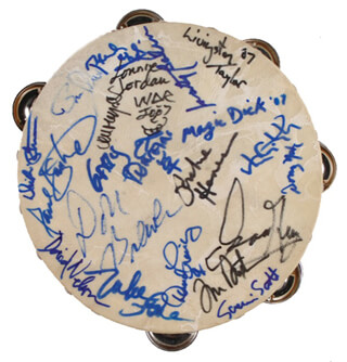 RICHIE HAVENS - EPHEMERA SIGNED CO-SIGNED BY: THE BEACH BOYS (MIKE LOVE), THE BEACH BOYS (BRUCE JOHNSTON), JEFFERSON AIRPLANE (MARTY BALIN), TOM (THOMAS R.) PAXTON, JEFFERSON AIRPLANE (PAUL KANTNER), SHA NA NA (DON YORK), ISAAC HAYES, JOHN MAYALL, GRAND FUNK RAILROAD (DON BREWER), NEW RIDERS OF THE PURPLE SAGE (DAVID NELSON), QUICKSILVER MESSENGER SERVICE (GARY DUNCAN), GRATEFUL DEAD (TOM CONSTANTEN), WAR (LONNIE JORDAN), LIVINGSTON TAYLOR, QUICKSILVER MESSENGER SERVICE (DAVID FRIEBERG), BLUE CHEER (DICKIE PETERSON), BLUE CHEER (PAUL WHALEY), J. GEILS BAND (RICHARD MAGIC DICK SALWITZ) - HFSID 277346